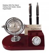 Curved Pen Stand with Clock